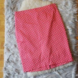 👑 (NWOT) ANN TAYLOR: pink, polka dot pencil skirt